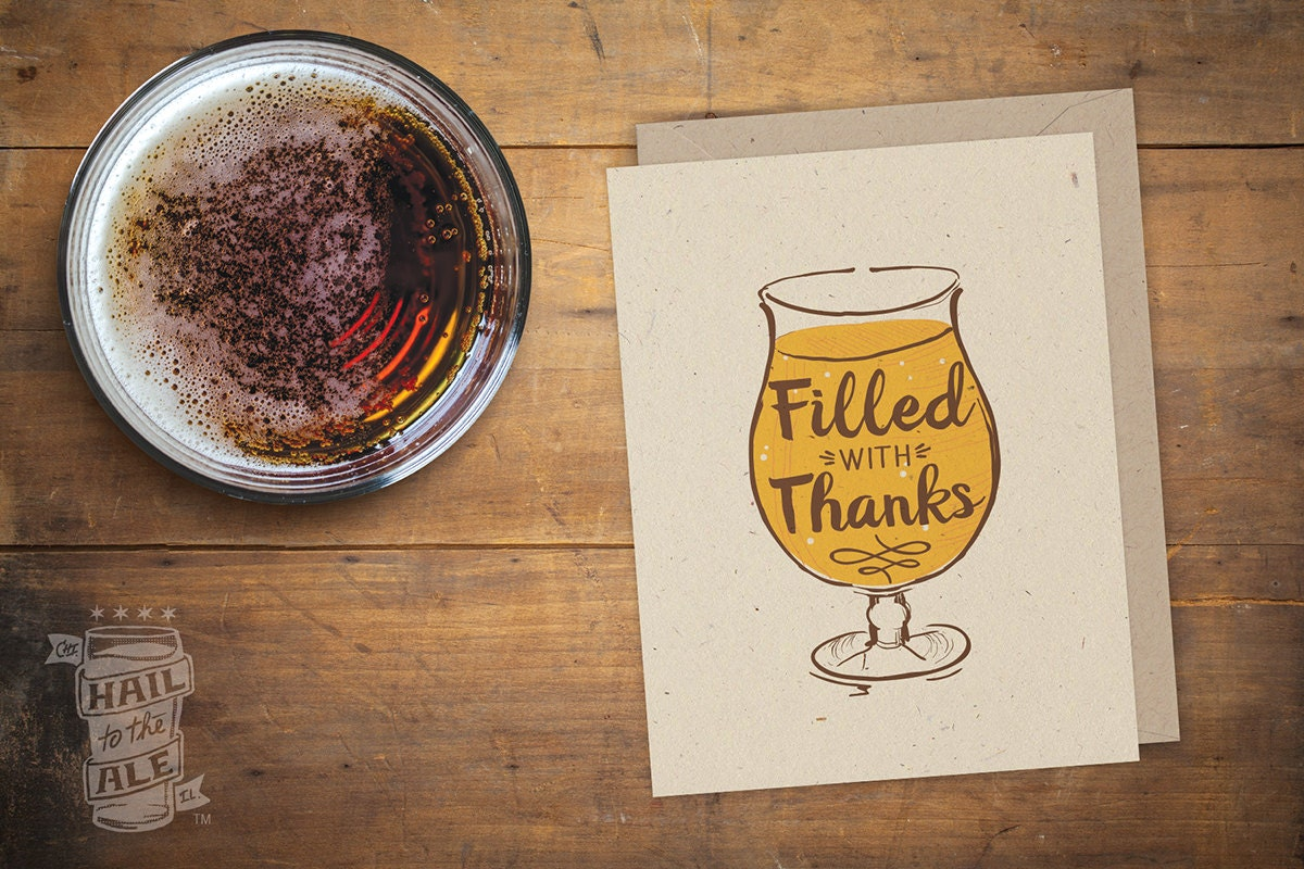 Beer Filled With Thanks Folded Card Beer Card Craft Beer
