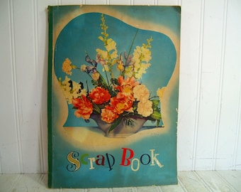 Paper Scrapbook with 14 Blank Aged Stained Sheets Vintage Colorful Cover Paper Ephemera Scrapbooking Album - Large Shabby Chic Floral Book