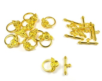 Lot 20 clasps T shape gold plated flower