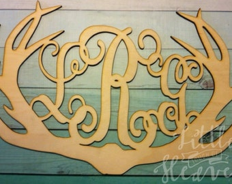 "SALE! 28"" Antler Monogram Unfinished/ DIY/ wood blank/ door hanger"