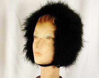 Vintage Black Marabou Feather Hood Hat