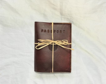 Handmade  in Ireland Leather Passport Cover embossed with Celtic Knot on cover