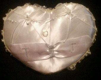 Custom White Satin wedding ring pillow