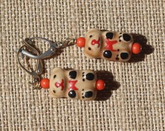 Christmas Bear-Red-Ceramic Teddy Bear Silver Dangle Earrings