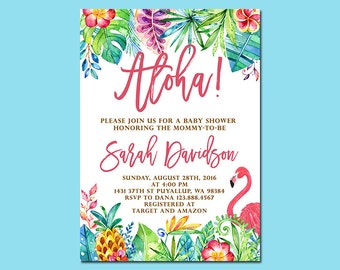 Aloha Baby Shower Invitation, Tropical Pineapple Flamingo Baby Shower Invitation, Luau Invitation, Hawaiian Invitation, Printable file only