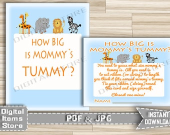 How Big Is Mommy's Belly Game Safari - Printable Baby Shower Tummy Guessing Game - Guess Tummy Size Animals Jungle - Instant Download - sb1
