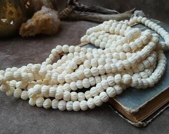 Cream white carved bone beads Round natural bone beads 7mm Strand 40cm