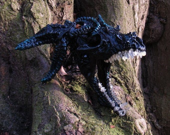 Big black dragon skull realistic fantasy creature wall hanging