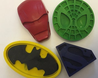 Superhero Party Favor crayons * Set of 4 pieces * Perfect for Party Favors * Stocking Stuffers * Small Gifts