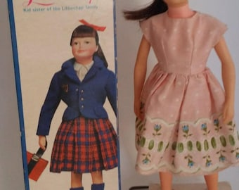 Vintage 1963 Libby Littlechap by Remco  -- Doll in Original Bathrobe with Box with Stand -- Kennedy Era, Littlechap Family Little Sister