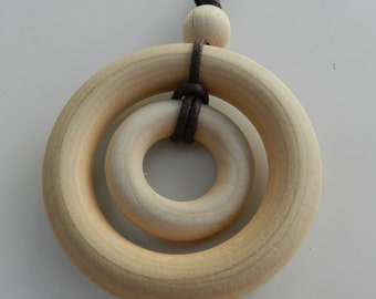 Double wood ring nursing necklace