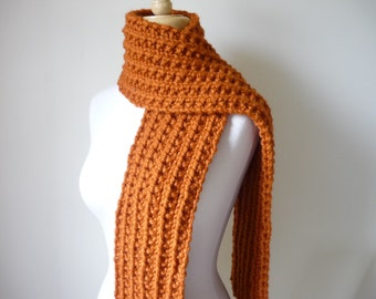 "Chunky Knit Scarf, Unisex Scarf in Pumpkin - Mens Scarf,  Womens Scarf  6"" x 60"" Winter Scarf Thick Scarf Winter Accessories - Ready to Ship"