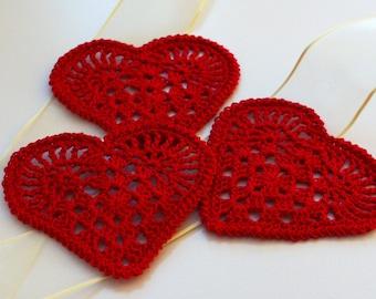 Crochet-décoration de coeurs Appliques Set de 3 Valentin ornement