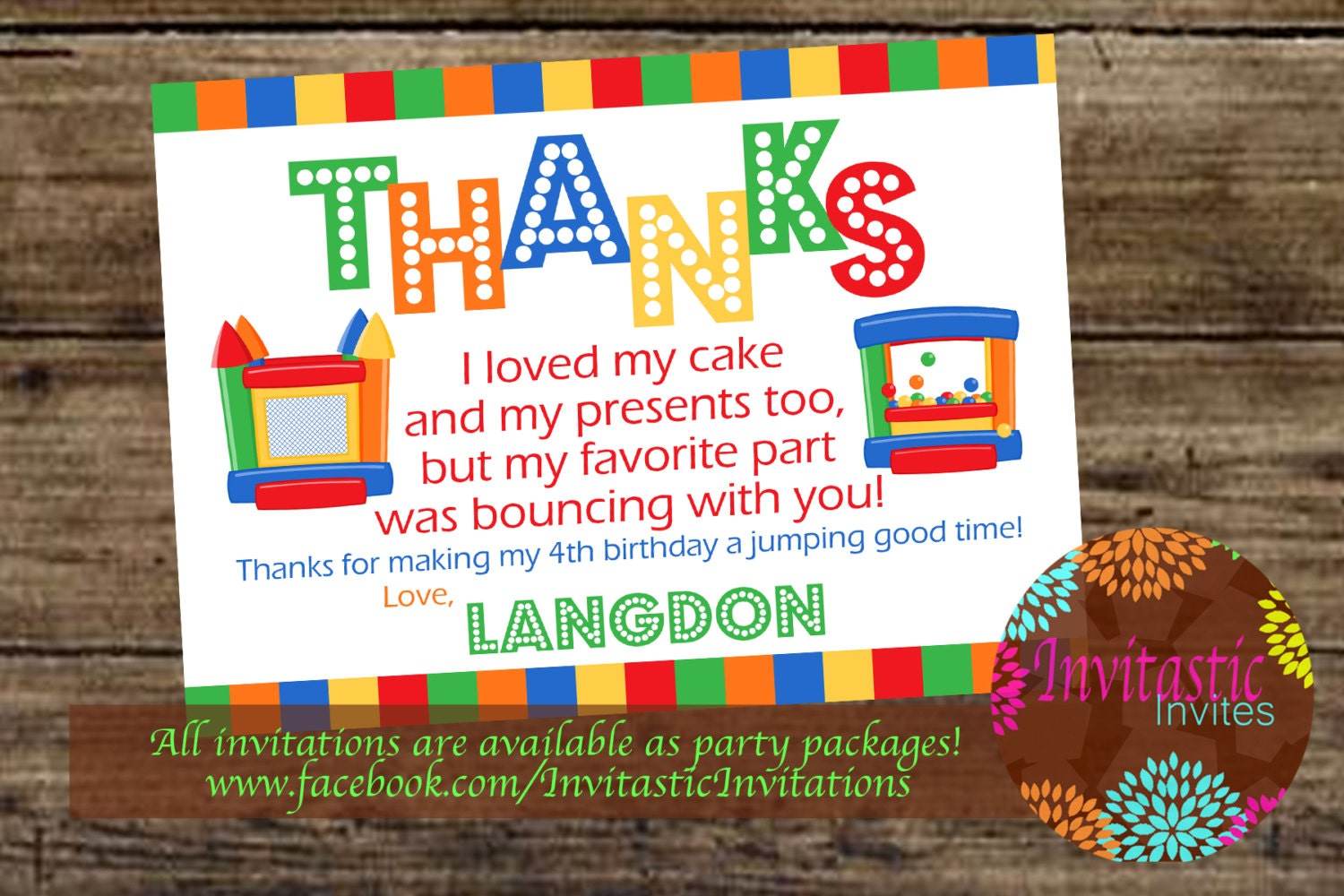 Bounce House Party Thank You Card Jump House Bounce Party