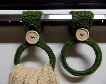 crocheted hanging towel holders set of 2, green kitchen towel ring, hand towel holder, crochet kitchen decor, RV towel holder, towel holders