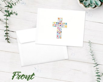 Notecards | Blank Note Cards | 10-Pack Greeting Cards | Cross Floral Notecards | Christian | Multi-Colored Flowers | FREE SHIPPING