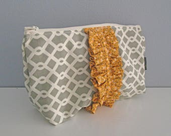 Large Zipper Pouch with Ruffle - Handmade Cosmetics Bag, Travel Accessory, Make up Bag,