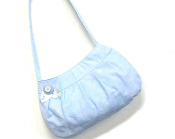 Pleated purse, small pocketbook, baby blue cotton bag with magnetic closure, casual bag, girls bag