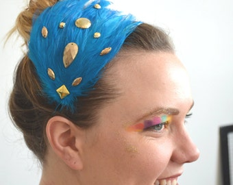 turquoise blue & metallic gold feather headband