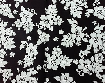 Black and White Cotton Hawaiian Print  (Yardage Available)