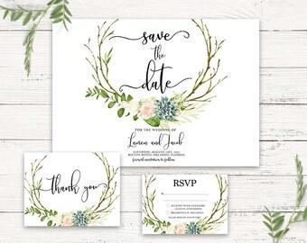 Succulent wedding invitation, Wedding suite, boho chic wedding invite,rustic wedding invitation suite, succulent save the date, 2017 trends