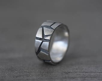 sculptural mens sterling silver ring, size 10.25, unique wedding band,  partner ring, modernist ring, alternative wedding, contemporary look