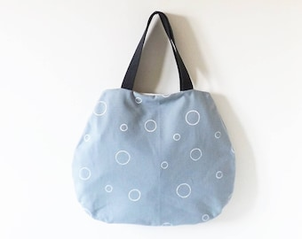 Light grey bag with white dots hand painted