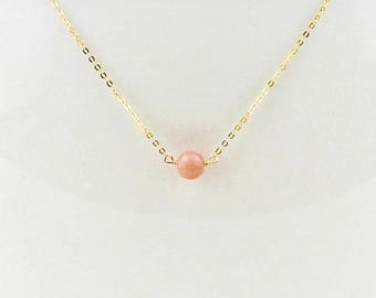 Pink Opal Necklace - October Birthstone Necklace - October Gift - Pink Opal Gift for Her - Pink Opal and Gold or Silver Chain Necklace