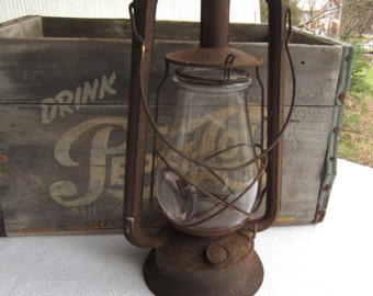 Vintage Dietz Monarch Kerosene Lantern with Bullseye Globe Farmhouse Rustic Decor