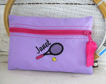 Tennis Gift - Tennis Cosmetic Bag with Name in Purple and Deep Pink- # 144