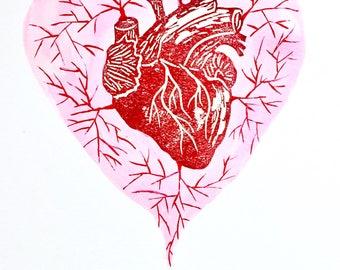 """Valentine's Day Anatomical Heart, Goth Valentine, For Her, Cardiologist Gift, Linoleum Block Print, 8""""x10"""""""