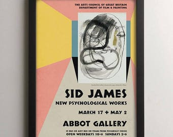 Sid James Carry On Film Actor Exhibition Poster, Surrealist Painting Print, Vintage Movie Poster, Retro Style British Comedy Art Film Poster