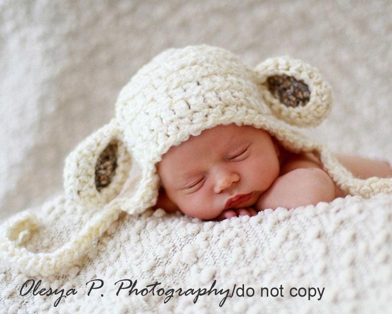 Newborn Sheep Earflap Hat Baby Lamb hat Baby sheep hat Baby