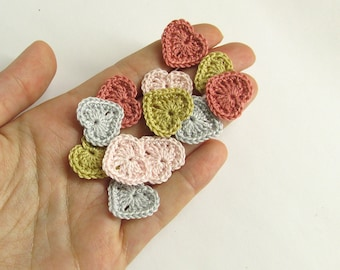 Crocheted hearts 1/2 inch, pink and gray  tiny appliques, set of 12
