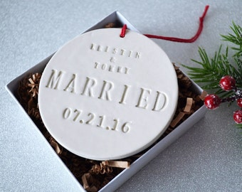 Married Ornament - Wedding Gift, Bridal Shower Gift or Christmas Gift - With Names and Date - Gift Boxed