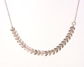 Rose Gold Leaf Necklace,  Leaf Statement Necklace, Leaf Necklace, Rose Gold Delicate Necklace, Holidays Gift Necklace, On Trend Necklace
