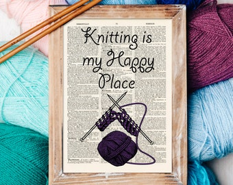 Knitting Quote Print on a vintage book page Antique Dictionary Craft Room Art Print Knitter Gift