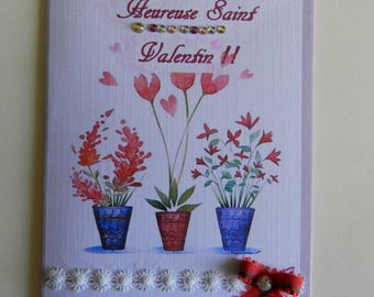 Greeting card. Valentine's Day card. Handmade, handcrafted