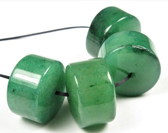 Green Aventurine Wheel-Shaped Large Rondelle Beads - 18mm x 12mm - 4 Pieces - B7564