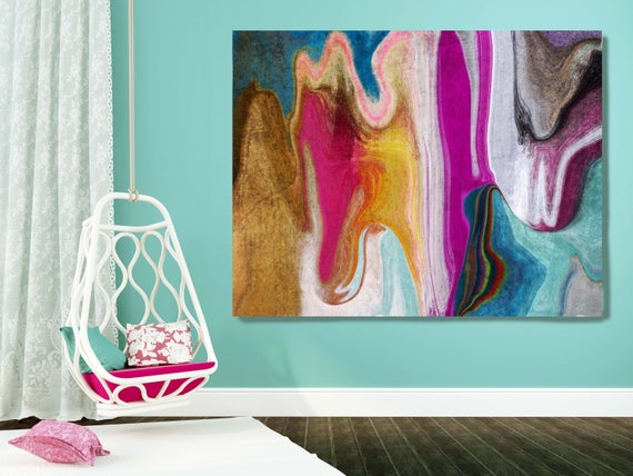 """4599X990 Abstract Rhythms NO 36. Abstract Paintings Art, Extra Large Abstract Colorful Purple Aqua Canvas Art Print up to 72"""" by Irena Orlov"""