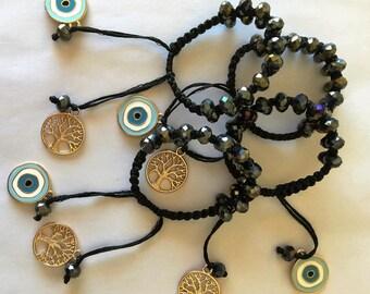 Bracelet, Macrame bracelet, Charm bracelet, Handmade, Egst, Evil Eye bracelet, Tree of life, Greek jewelry, Crystal beads, Made in Greece