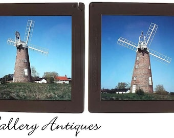 Pair of Vintage Windmill Probably in Norfolk 7 x 7cm Colour Photographic Slides c.1970's (ref: 7167-12)