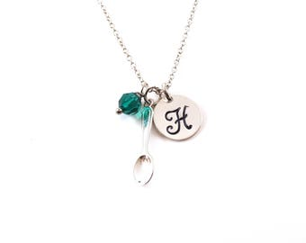 Spoon Necklace -  Spoon Charm - Spoon Full Of Sugar - Swarovski Crystal Birthstone Necklace - Personalized Initial Sterling Silver Jewelry
