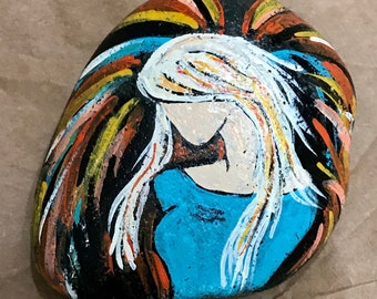 Angel painted rock, paperweight