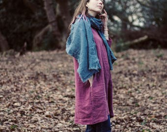 100% Linen dusty pink 3/4 sleeve dress, hand made in London, sustainable, artisan, fashion