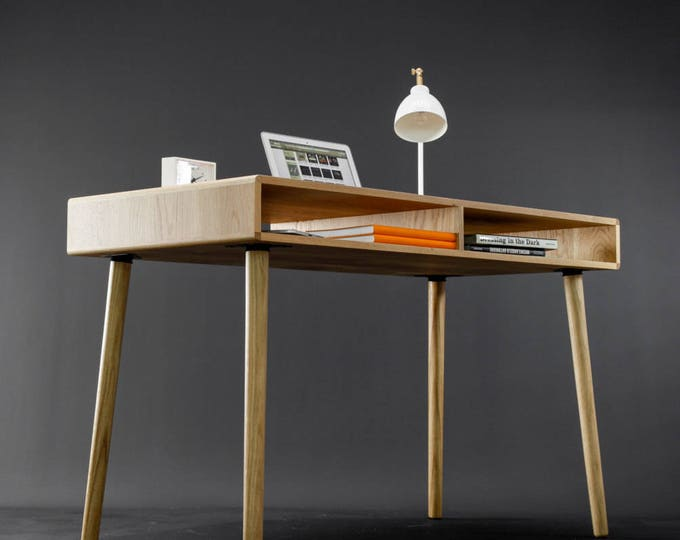 Modern Oak Desk with Open Cubbies Mid Century Design