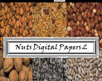Food Digital Papers - Nuts - Peanuts - Cashews, Walnuts, Chestnuts, Pecan, Cocoa Bean - Background - Photograph Overlays - Commercial Use