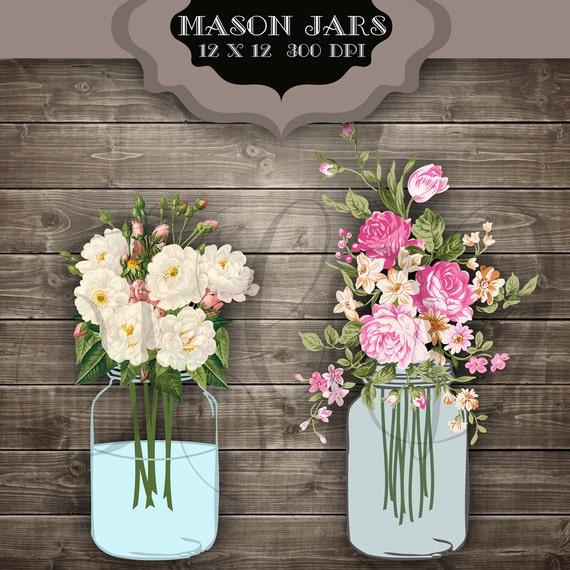Wedding Flowers In Mason Jars: Wedding Clip Art Mason Jars Digital Clipart Vintage Flower