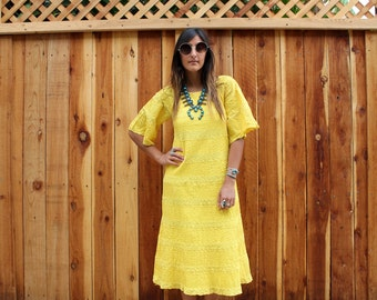 Vintage 70s Vibrant Yellow CROCHET & Pintucked Cotton MEXICAN Dress S
