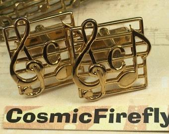 Men's Vintage Cufflinks Treble Clef Musical Notes Cufflinks Antique Gold Tone Plated Cufflinks Antique Cufflinks Preowned Vintage